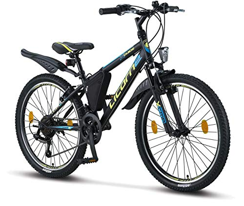 Licorne Bike Guide (Schwarz/Blau/Lime), 24 Zoll Kinderfahrrad, geeignet für 8, 9, 10, 11 Jahre, Shimano...