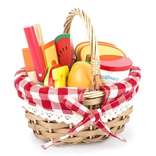 Small Foot 11282 Picknickkorb mit Schneide-Lebensmitteln aus Holz, Kaufladen-Zubehör, Rollenspielzeug...