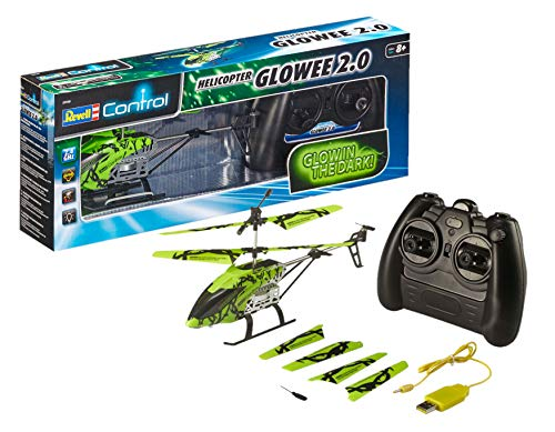 Revell Control 23940 RC Helicopter Glowee 2.0, 2.4GHz, einfach zu fliegen, Gyro, LED-Glow-in-the-Dark...