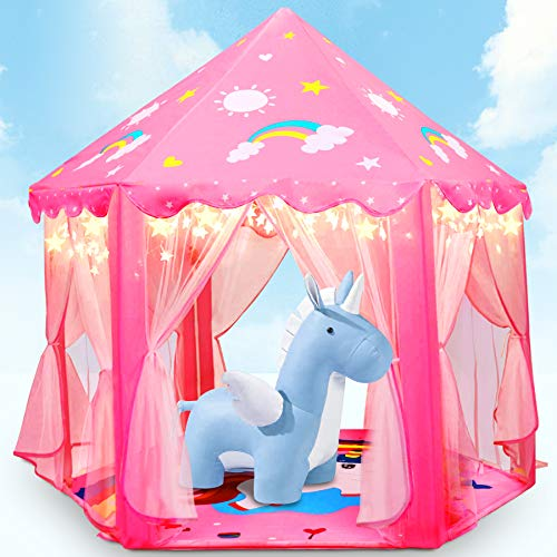 Fivejoy Unicorn Kinderspielzelt Mädchen Kinder Zelt, Princess Castle Spielzelt Für Kinder Mit 2 Modes...
