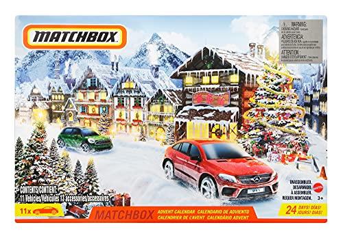 Matchbox GXH01 - Adventskalender mit 24 Überraschungen, darunter 10 Fahrzeuge im Maßstab 1:64 mit...
