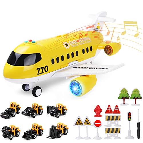 Coolplay Flugzeug mit Auto Baufahrzeuge für Kinder, Transporter Spielzeugautos Geschenk Flugzeug...