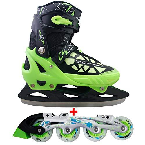 Cox Swain 2 in 1 Kinder Skates-/Schlittschuh -Blake- LED Leuchtrollen, ABEC 7 Carbon Lager,...