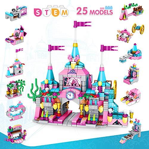 LUKAT Prinzessin Burg Bausteine Spielzeug für Mädchen 6 7 8 9 10 Jahre 568 Stück Gebäude...