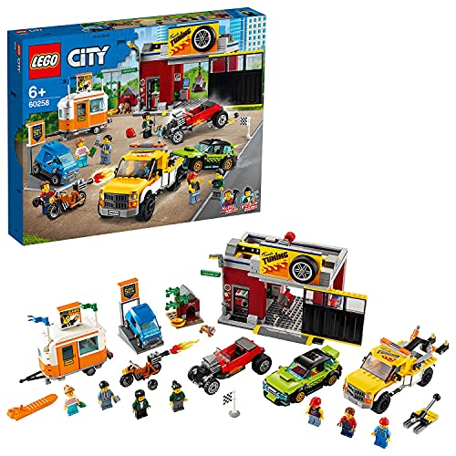 LEGO 60258 City Tuning-Werkstatt mit Spielzeugautos, Bausteine, Abschleppwagen, Hot Rod, Wohnanhänger...