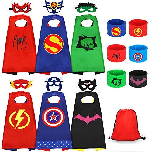 Jojoin Superhelden Kinderkostüm Kinder, 6 Stücke Superhelden Kostüm Kinder mit 6 Superhelden Masken, 6...