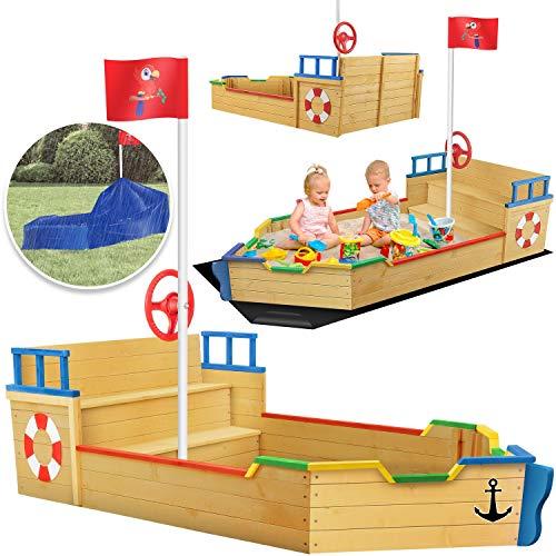 KIDIZ® Sandkasten Ahoi - Piratenschiff Boot Segelschiff aus Holz Inkl. Abdeckung, Bodenplane, Sitzbank,...