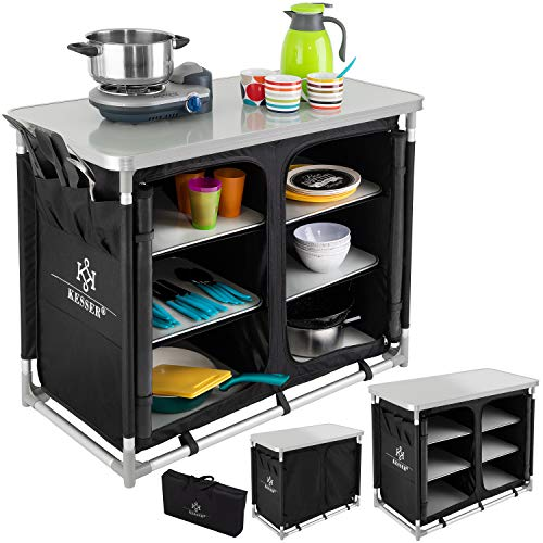 KESSER® Campingschrank, Campingküche mit Aluminiumgestell, Spritzschutz und Tragetasche Kocherschrank...