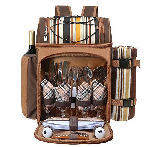 Hap Tim picknickrucksack 4 Personen mit Fleece-Decke und K¡§1hlfach (Kaffee)