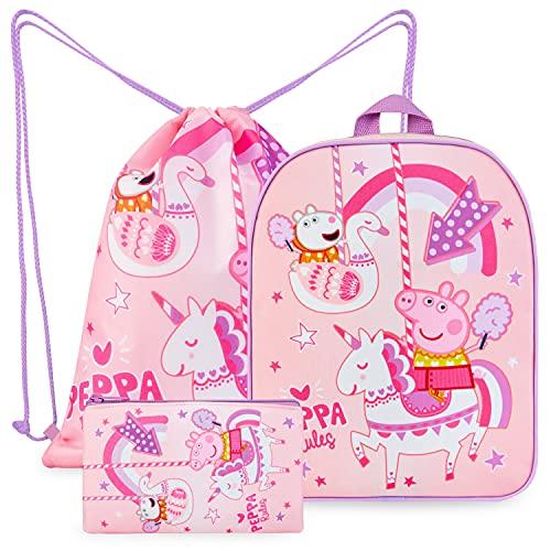 Peppa Pig Kindergartenrucksack Mädchen Set, Peppa Wutz Rucksack Mädchen mit Turnbeutel und...