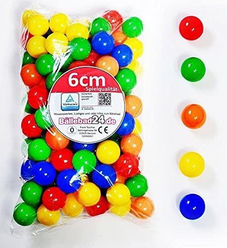 300 Stück 6cm Bälle für Kinder Bällebad Babybälle Plastikbälle ohne gefähliche Weichmacher (TÜV...