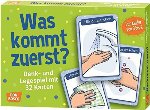 Was kommt zuerst?: Denk- und Legespiele mit 32 Karten für Kinder von 3 bis 8 (Denk- und Legespiele für...