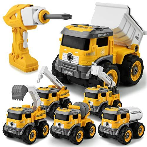 GizmoVine Bagger Spielzeug ,6 In 1 Ferngesteuertes Montage Baufahrzeug Autos,Sandkasten Spielzeug ,DIY...