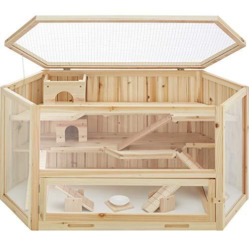 TecTake 403227 Hamsterkäfig aus Holz mit Zubehör, mehrere Etagen, aufklappbares Dachgitter,...