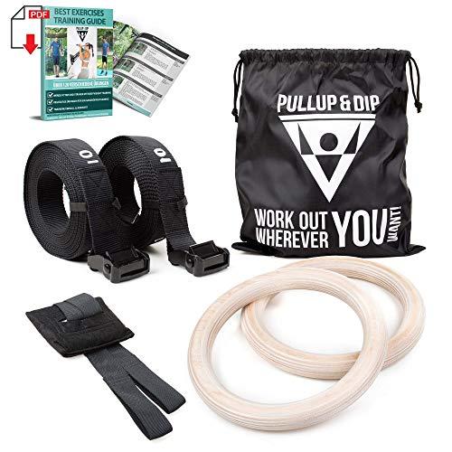 PULLUP & DIP Premium Turnringe Holz, Gym Rings Gymnastikringe, Turnerringe für Calisthenics & Crossfit,...