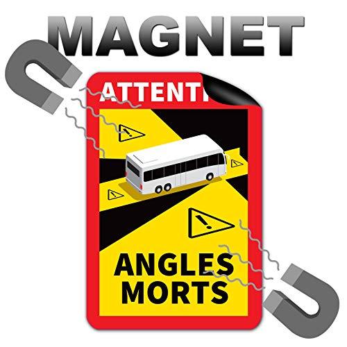 6 Stück Attention Angles Morts Magnetschilder 25 x 17 cm Magnet für Bus und Wohnwagen Warntafel...