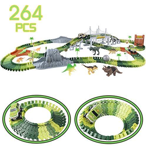 Nuheby Autorennbahn Rennbahn Dinosaurier für Kinder Junge Mädchen 3 4 5 6 Jahren, 264 Stück die...