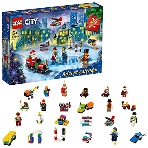 LEGO 60303 City Advent Calendar 2021 Mini Builds Set, Christmas Toys for Kids Age 5 with Play Board & 6...