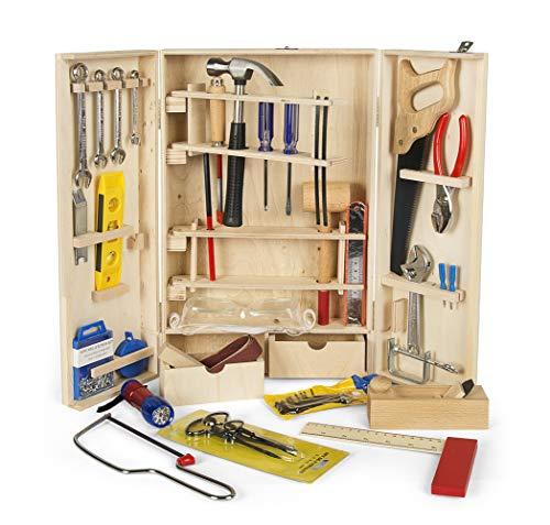 LEOMARK Deluxe: Holz Werkzeugkasten mit 50 Teilen für Kinder