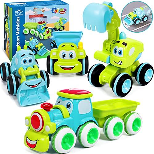 Tacobear 4 Stück Spielzeugautos Set Baufahrzeuge für Kinder 1 2 3 4 Jahre Cartoon Reibungsbetriebene...