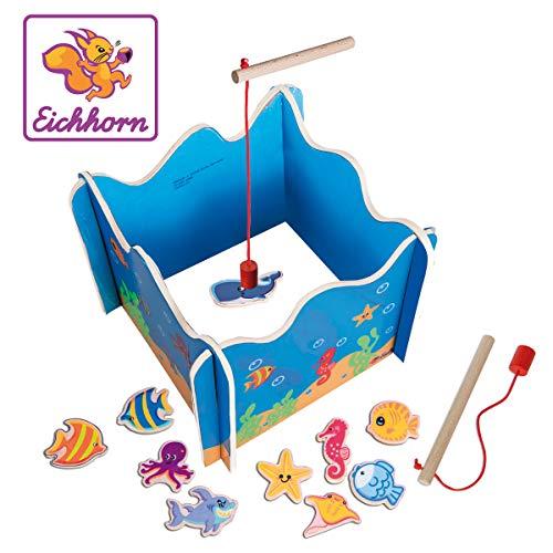 Eichhorn 100002089 Angelspiel mit Zwei Angeln, Holzspielzeug, Geschicklichkeit, ab 3 Jahren, 16 teilig,...