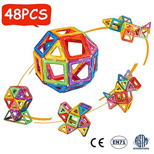 crenova 48P Magnetische Bausteine Regenbogenfarben Bausatz Pädagogischen Magnetischen Fliesen Spielzeug...