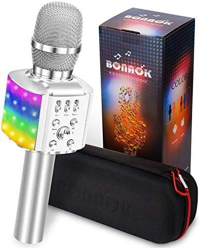 BONAOK Mikrofon mit Lautsprecher Led, Tragbares 4 in 1 Mikrofon Kinder mit Aufnahmefunktion, Zuhause...