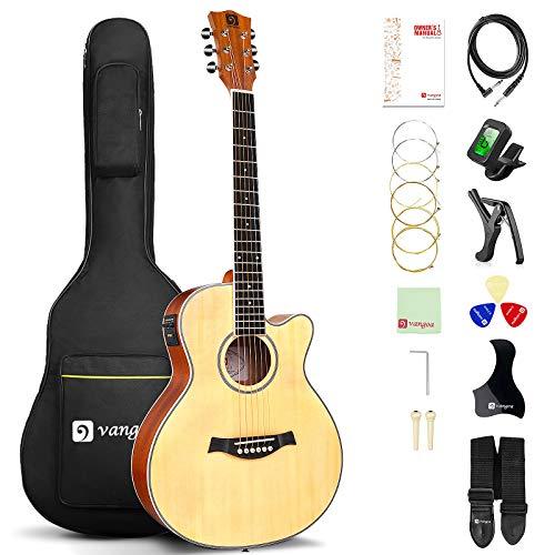 Vangoa 3/4 Elektro Akustische Gitarre Cutaway 36 Zoll E-Akustikgitarre mit 2-Band-Equalizer, Eingebauter...