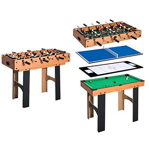 HOMCOM 4 in 1 Multi Spieltisch Tischkicker Tischfussball Kicker Hockey Billard Tischtennis, MDF,...
