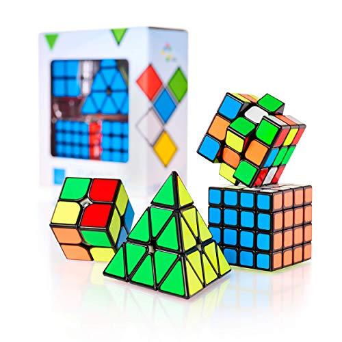 CUBIDI® Zauberwürfel Set - Zauberwürfel 2x2 + 3x3 + 4x4 + Pyramide - Set mit spannende Brainteaser...