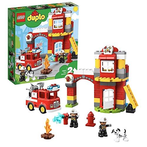 LEGO 10903 DUPLO Feuerwehrwache mit Feuerwehrauto und Feuerwehrmann-Figuren, Motorikspielzeug, Feuerwehr...