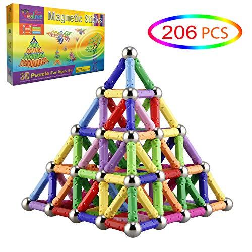 Veatree 206 Stücke Puzzle Magnetische Bausteine Spielzeug Magnet BAU Bauen Kit Bildung Spielzeug für...