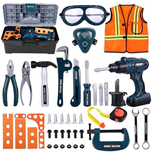 iBaseToy Werkzeugkoffer Kinder - 45 PCS Kinder Werkzeug mit Akkuschrauber, Kinder Bohrmaschine Spielzeug,...