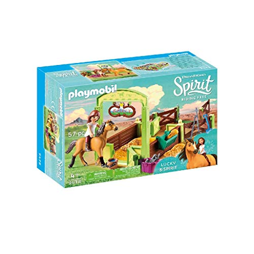 PLAYMOBIL DreamWorks Spirit 9478 Pferdebox Lucky & Spirit, Ab 4 Jahren