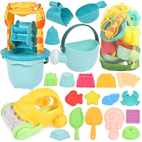 GOLDGE Sandspielzeug Set, 29Pcs Bunte Strandspielzeug Sandspielzeug Set mit Auto Eimer Schlossformen...