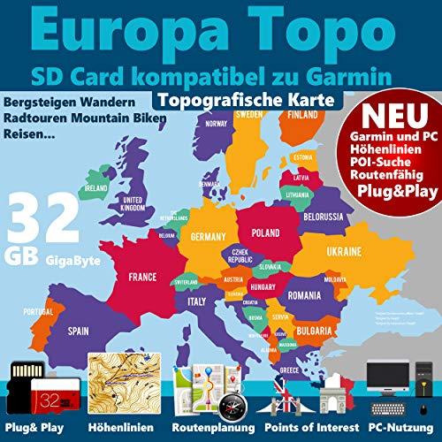 TOPO für Garmin Karte +EUROPA Albanien Andorra Belgien Bosnien und Herzegowina Bulgarien Dänemark...