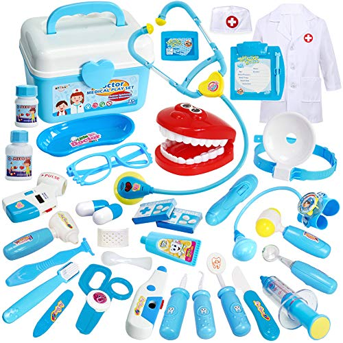 Buyger 35 Teile Arztkoffer Medizinisches Doktor Arztkittel Rollenspiel Spielzeug Geschenke Kinder(Blau)
