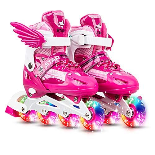 Roeam Inline-Skates Kinder, Verstellbare Schlittschuhe mit Leuchtenden Rädern für Mädchen und Junge