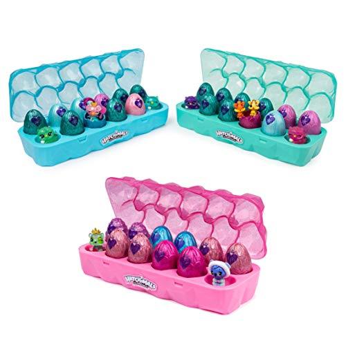 Hatchimals 6047215 - CollEGGtibles Schmuckkästchen 12 - er Pack Eierkarton in Pink, Blau oder Türkis