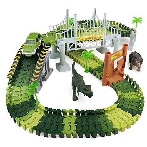 Dinosaurier Autorennbahn Rennbahn Autobahn Kinder Spielzeug ab 3 4 5 6 Jahren Junge Mädchen,142 Stück...