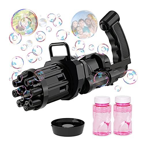 Seifenblasenmaschine, Lustige 8-Loch Gatling Bubble Machine mit Seifenblasen, Seifenblasenpistole für...