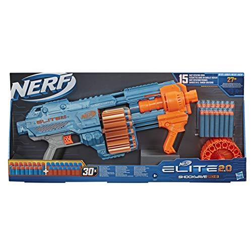 NERF Hasbro E9527EU4 Elite 2.0 Shockwave RD-15 Blaster, 30 Darts, 15-Dart Rotationstrommel, Schnellfeuer...