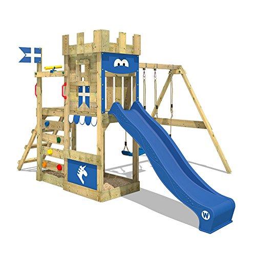 WICKEY Spielturm Ritterburg RoyalFlyer mit Schaukel & blauer Rutsche, Spielhaus mit Sandkasten,...