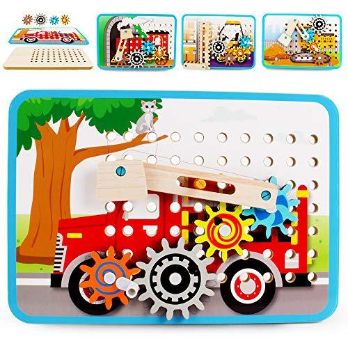 VATOS Zahnrad Holzpuzzle für Kinder, Motorikspielzeug Holzspielzeug mit 4 Automuster, Perfekt...