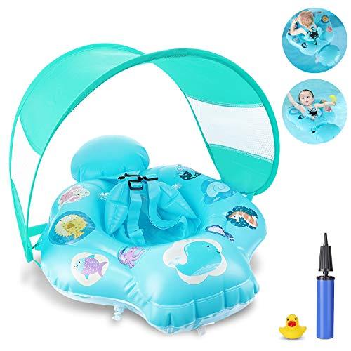 Magicfun Baby Schwimmring, aufblasbarer Schwimmhilfe mit Sonnendach und sicherem Sitz, Schwimmreif Kinder...