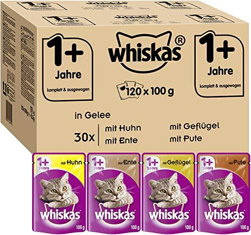 Whiskas 1 + Katzenfutter – Geflügel-Auswahl in Gelee – Hochwertiges Feuchtfutter für ausgewachsene...