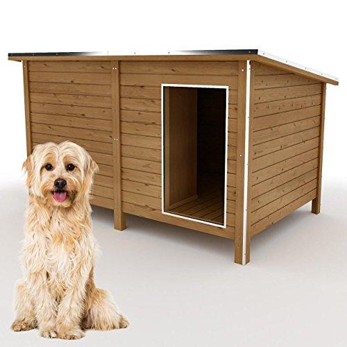 happypet® Hundehütte XL - Hundehütte in L-Format, Echtholz-Hütte DK150-2 wetterfest, isoliert, mit...