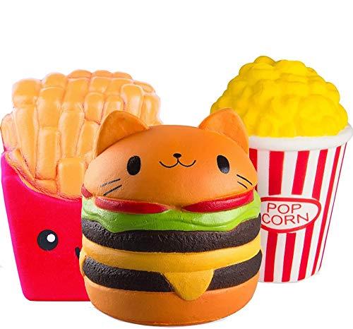 ZhengYue 3 Stück Kawaii Squishy Spielzeug - Popcorn Fries Hamburger Squeeze Stress Squishies Langsam...
