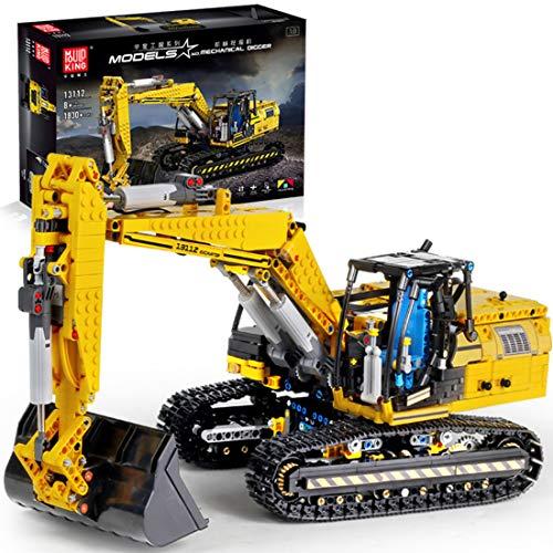 ReallyPow Technik Bagger mit Motor, Motorisierter Raupenbagger Ferngesteuert, Linkbelt Bagger Mould King...
