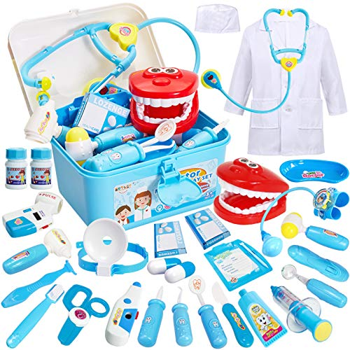 BUYGER Arztkoffer Kinder Rollenspiel Spielzeug Medizinisches Doktor Arztkittel Geschenke Kinderspielzeug...